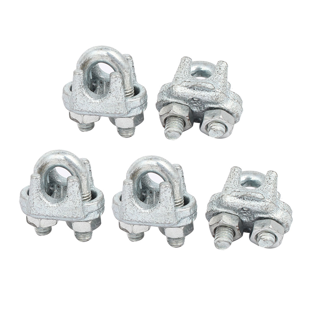 6mm Inner Width Metal U Shaped Wire Rope Cable Clamp Clips Silver Tone 5pcs