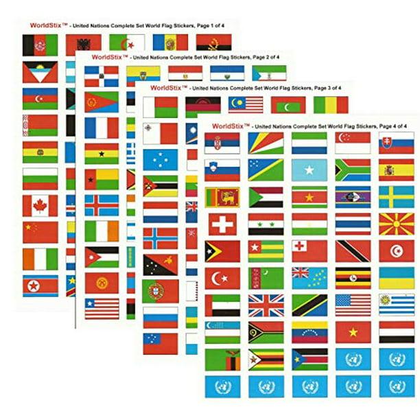 World Flag Stickers United Nations Sticker Set 1 5 X 1 Self