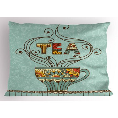 Tea Pillow Sham, Aromatic Beverage Drink Cup with Blossom Ornamental Swirled Lines on Spring Background, Decorative Standard Size Printed Pillowcase, 26 X 20 Inches, Multicolor, by Ambesonne