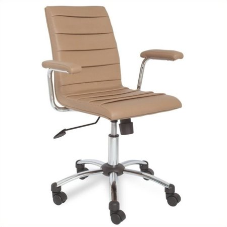 Leick Furniture Saddle Faux Leather Pleated Office Chair In Light Brown Wal