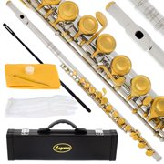 Lazarro 180-NK Professional Silver-Gold Closed Hole C Flute with Case, Care Kit-Great for Band, Orchestra,Schools