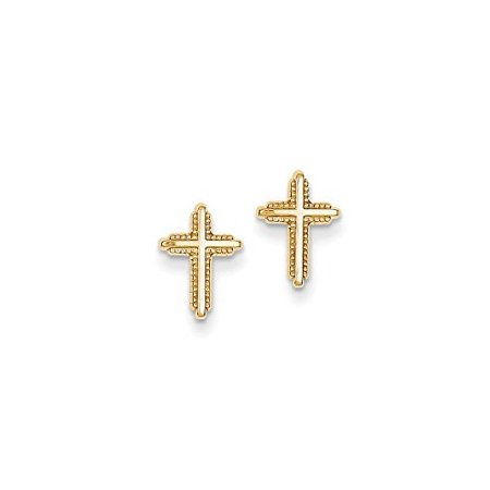 14K Yellow Gold Cross with Beaded Edge Stud Post Earrings MSRP $61