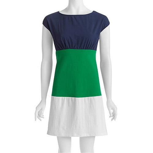 Women's Knit Jersey Colorblock Short Sleeve Dress