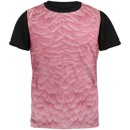 Halloween Pink Flamingo Costume All Over Mens Black Back T - Pink And Black Halloween Costumes