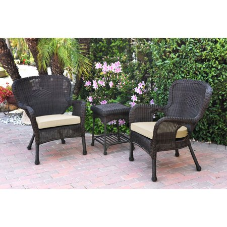 Jeco Windsor Resin Wicker 3 Piece Patio Conversation Set ()