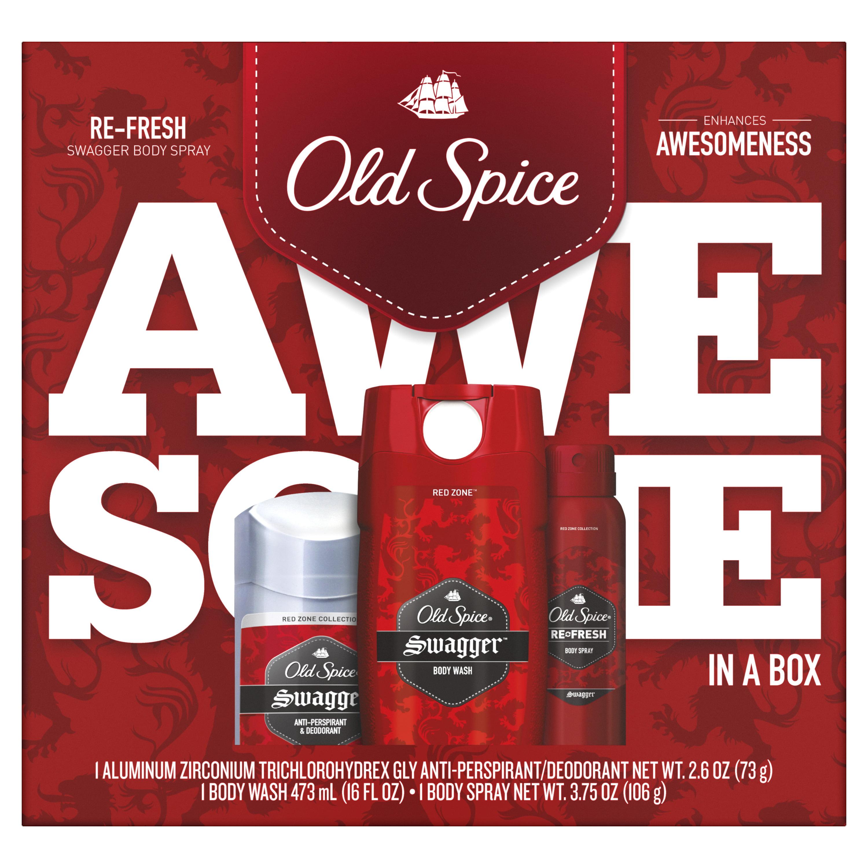 Old Spice Swagger Antiperspirant & Deodorant, Body Wash & Body Spray for Men Gift Pack