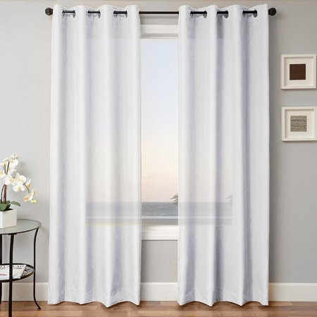 - 1 PANEL MIRA  SOLID WHITE  SEMI SHEER WINDOW FAUX SILK ANTIQUE BRONZE GROMMETS CURTAIN DRAPES 55 WIDE X 84