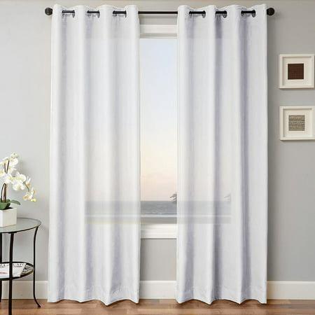 1 Panel Mira Solid White Semi Sheer, Antique Bronze Grommet Curtains
