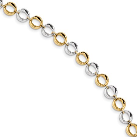 14K Yellow and White Gold Polished Fancy Circles Bracelet 7.5inch