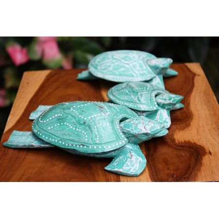 Set of 3 Turtles Ashtray/Keepsake Boxes Turquoise | - 3 Turtles Keepsake Boxes