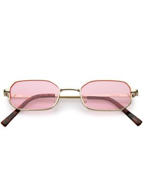 9407a8eba9f4 Product Image sunglassLA - Extreme Small Thick Metal Rounded Rectangle  Sunglasses Color Tinted Flat Lenses 48mm - 48mm