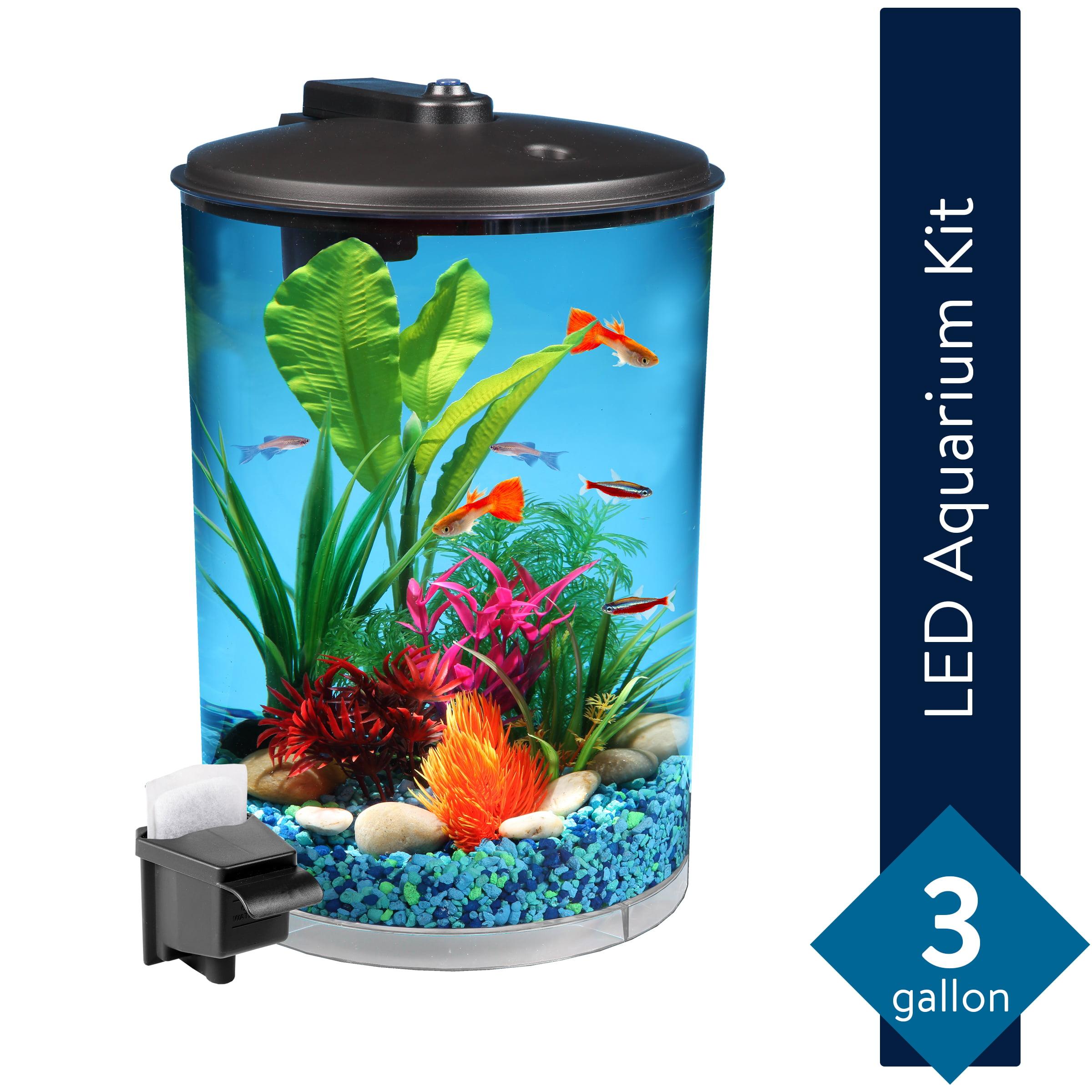 Hawkeye 3 Gallon 360 View Aquarium Kit With Led Lighting And