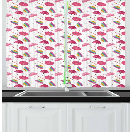 Bubble Panel - Umbrella Curtains 2 Panels Set, Bubble Shaped Colorful Striped and Pink Colored Floral Set of Different Umbrellas, Window Drapes for Living Room Bedroom, 55W X 39L Inches, Multicolor, by Ambesonne