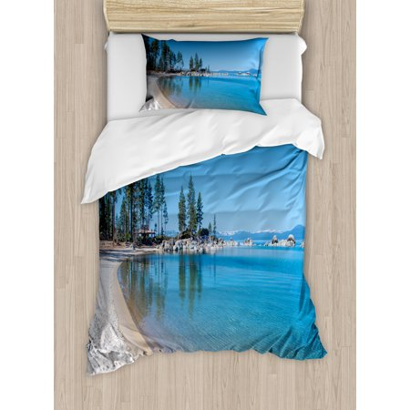 Lake Tahoe Twin Size Duvet Cover Set, Clear Water in Shore of Lake Tahoe Idyllic Calming Scene, Decorative 2 Piece Bedding Set with 1 Pillow Sham, Azure Blue Coconut Forest Green, by Ambesonne
