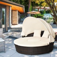 Gymax Cushioned Patio Rattan Round Daybed w/ Adjustable Table 3 Pillows Canopy
