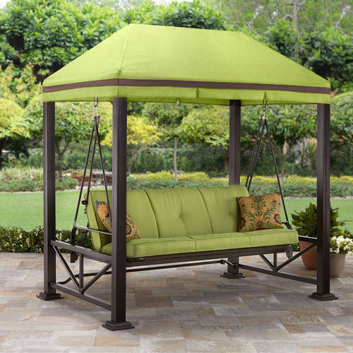 Better Homes and Gardens Sullivan Pointe 3-Person Outdoor Swing with Gazebo, Green