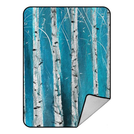 YKCG Home Bathroom Winter White Fabric Birch Tree Hooks-Foggy Forest Road Blanket Crystal Velvet Front and Lambswool Sherpa Fleece Back Throw Blanket 58x80inches