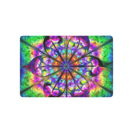 CADecor Abstract Psychedelic Flower Mandala in Rainbow Color Door Mat Home Decor, Bohemian Mandala Indoor Outdoor Entrance Doormat 23.6x15.7 - Rainbow Flower