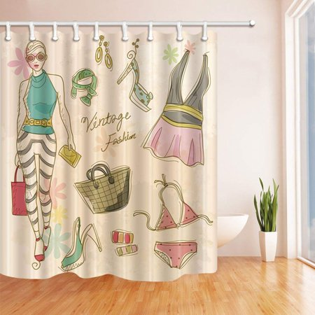 ARTJIA Fashion Girl Decor Swming Bikini Handbag and High Heel Shoes Polyester Fabric Bathroom Shower Curtain 66x72 - Wholesale Handbags Shoes
