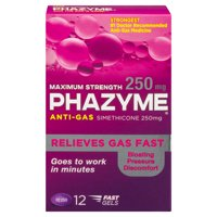 Phazyme Maximum Strength Gas and Bloating Relief, 250 mg, 12 FAST GELS