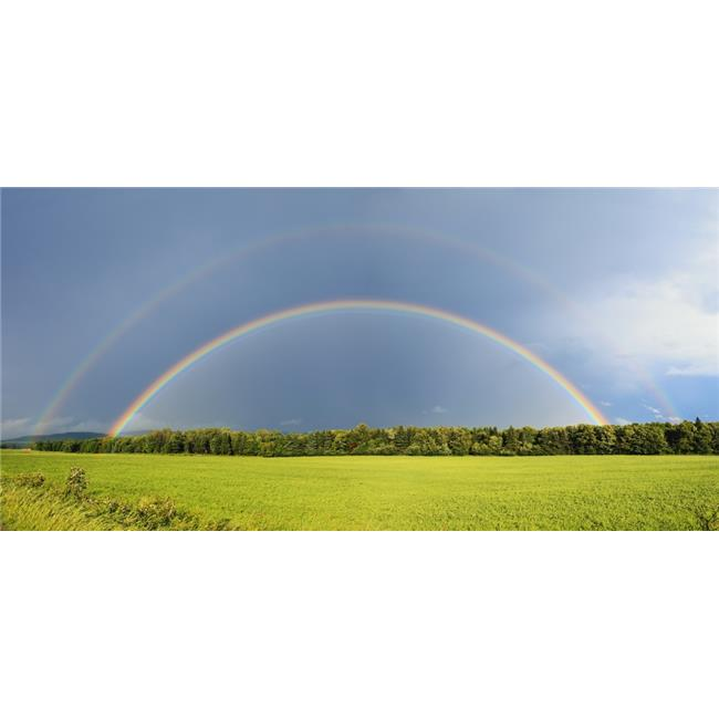 Double Rainbow Over Trees & Lush Green Field - Quebec Canada Poster Print - 22 x 10 in.