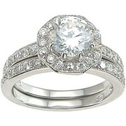 CZ 925 Sterling Silver Rhodium Finish Antique Style Engagement Set Ring