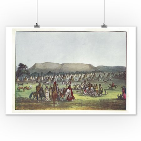 Fort Benton, MT - Piekann Indians Encampment near Old Ft. McKenzie on the Muscleshell River (9x12 Art Print, Wall Decor Travel