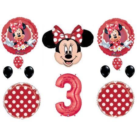 RED Minnie Mouse 3rd Birthday Party Balloons Decoration Supplies Third Disney
