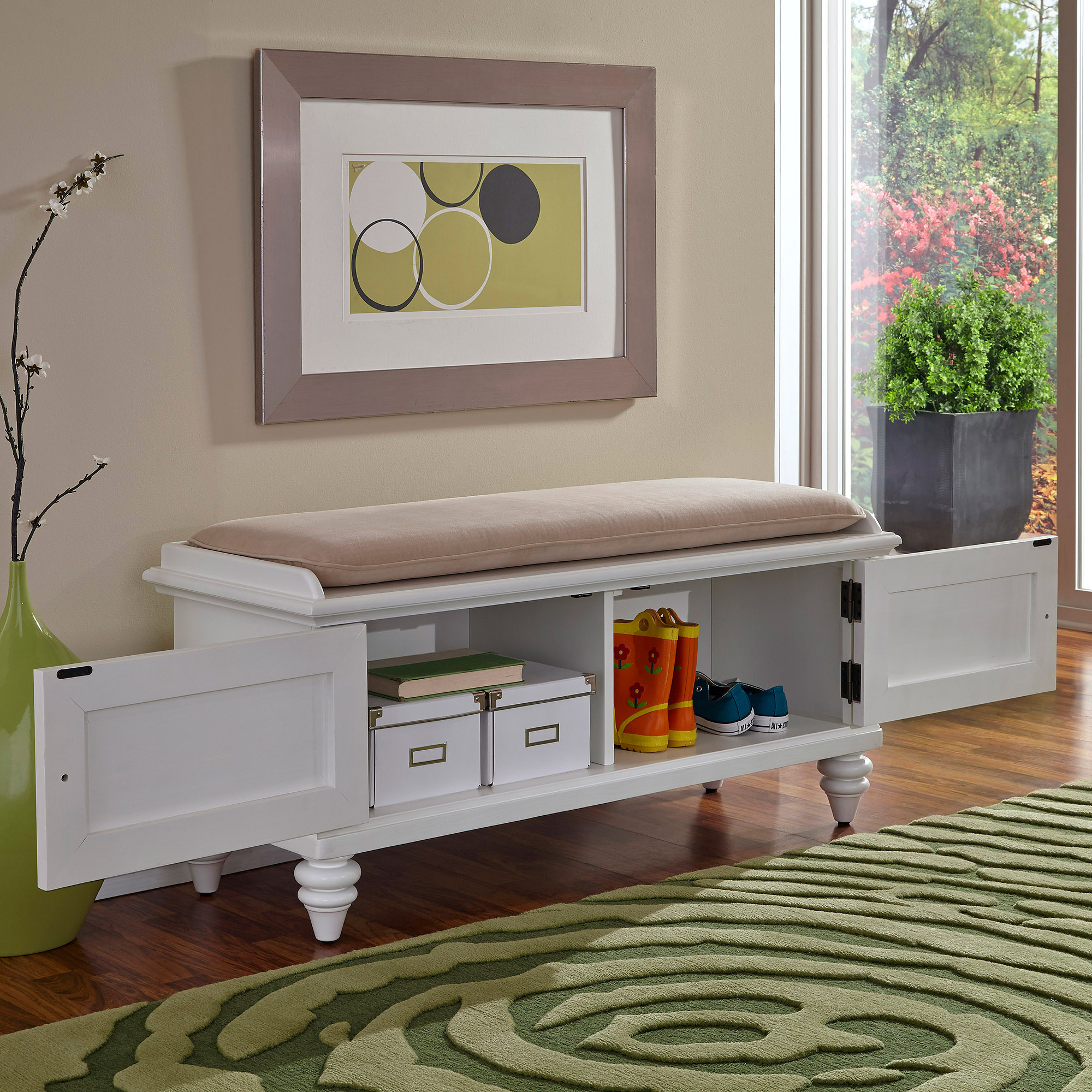 Padded Benches Living Room Bermuda Brushed White Upholstered Bench Walmartcom