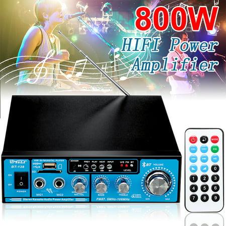 800W HIFI Digital Audio bluetooth 2-Channel Power Amplifier AMP FM Radio For Car Home ()