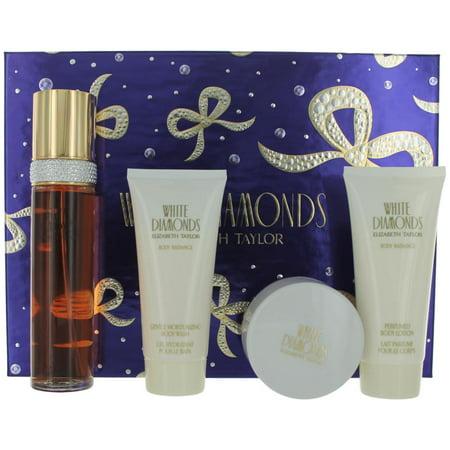 White Diamonds Perfume 4 Pece Gift Set Women With Powder