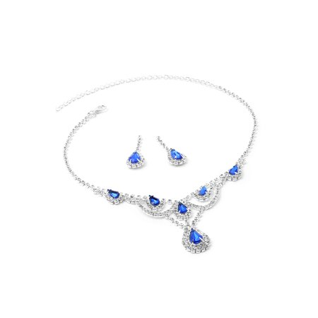Silver Crystal Rhinestone with Large Sapphire Teardrop Centerpiece Necklace and Matching Dangle Earrings Jewelry - Crystal Teardrop Jewelry Set
