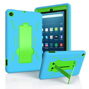 EpicGadget Fire 7 2019 Hybrid Case, for Amazon Fire 7 inch Tablet (9th Generation, 2019 Released) - Heavy Duty Hybrid Case Cover with Kickstand + 1 Screen Film and 1 Pen (Blue/Green)