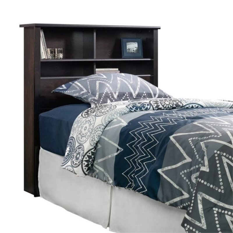 Pemberly Row Twin Bookcase Headboard in Estate Black