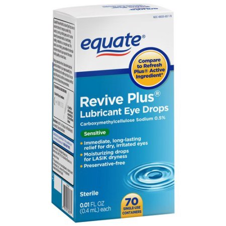 Equate Revive Plus Lubricant Eye Drops, 0.01 fl oz, 70 count