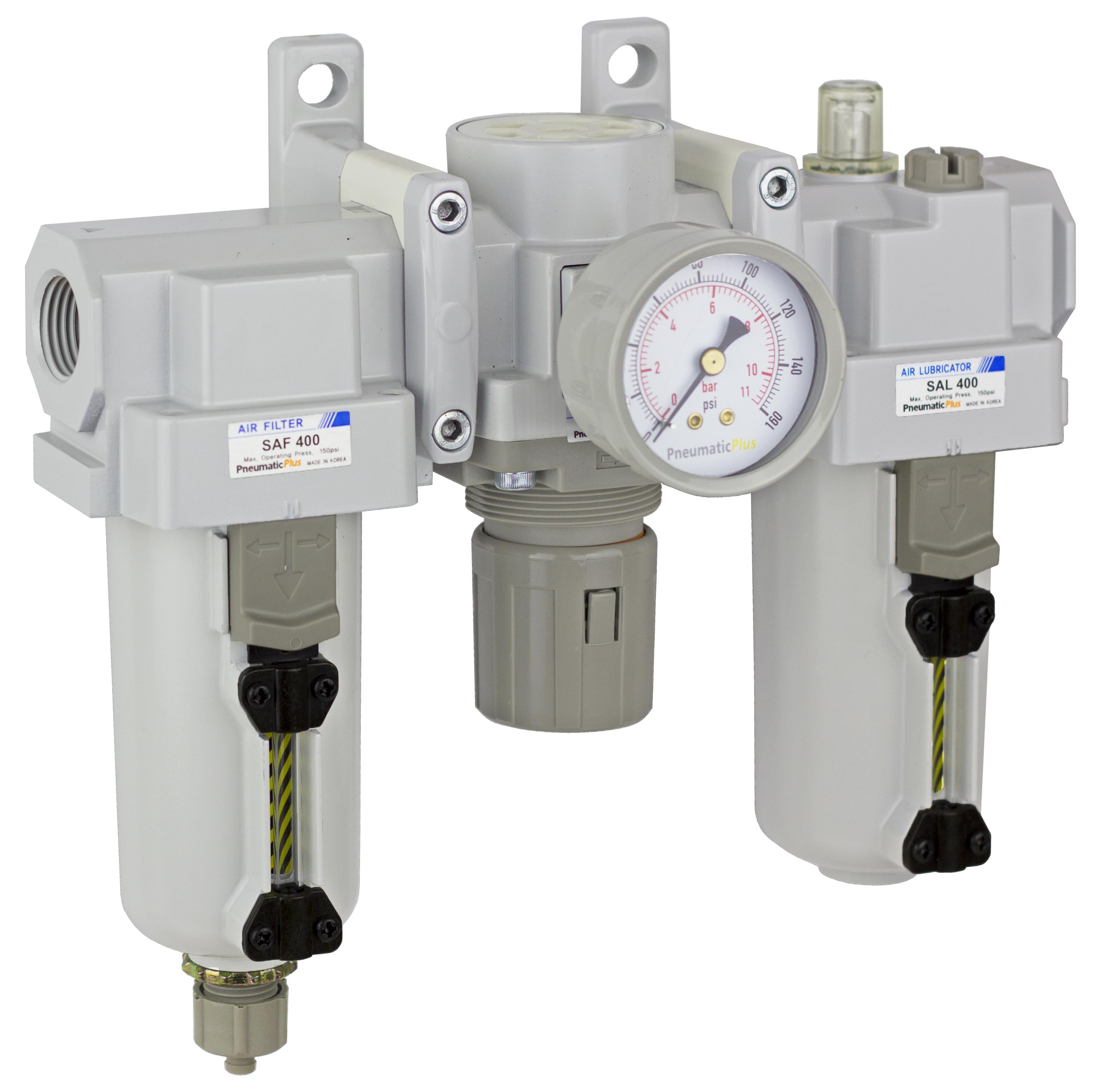 "PneumaticPlus SAU400-N04G-MEP Compressed Air Filter Regulator Lubricator Combo 1/2"" NPT - Metal Bowl, Manual Drain, Bracket, Gauge"