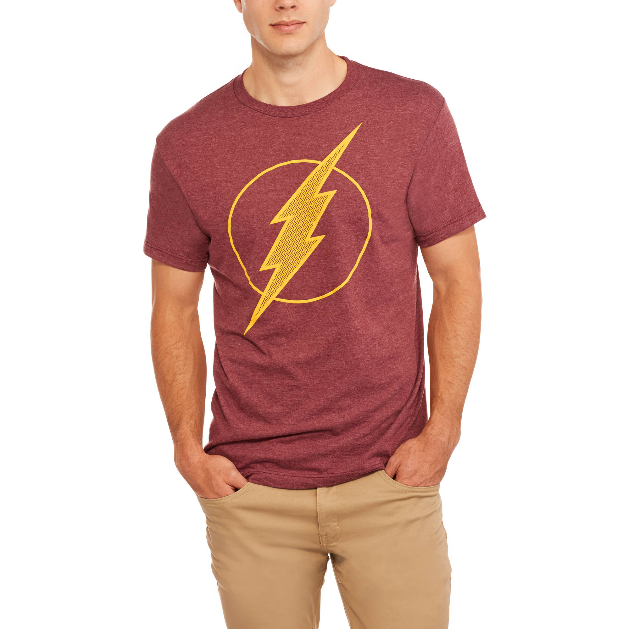 DC Comics Men's Flash Logo Polyester Tee