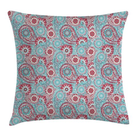Vintage Throw Pillow Cushion Cover, Traditional Oriental Spring Flowers Pattern Paisley Ornamental Eastern Artwork, Decorative Square Accent Pillow Case, 16 X 16 Inches, Pink Light Blue, by - Oriental Artwork