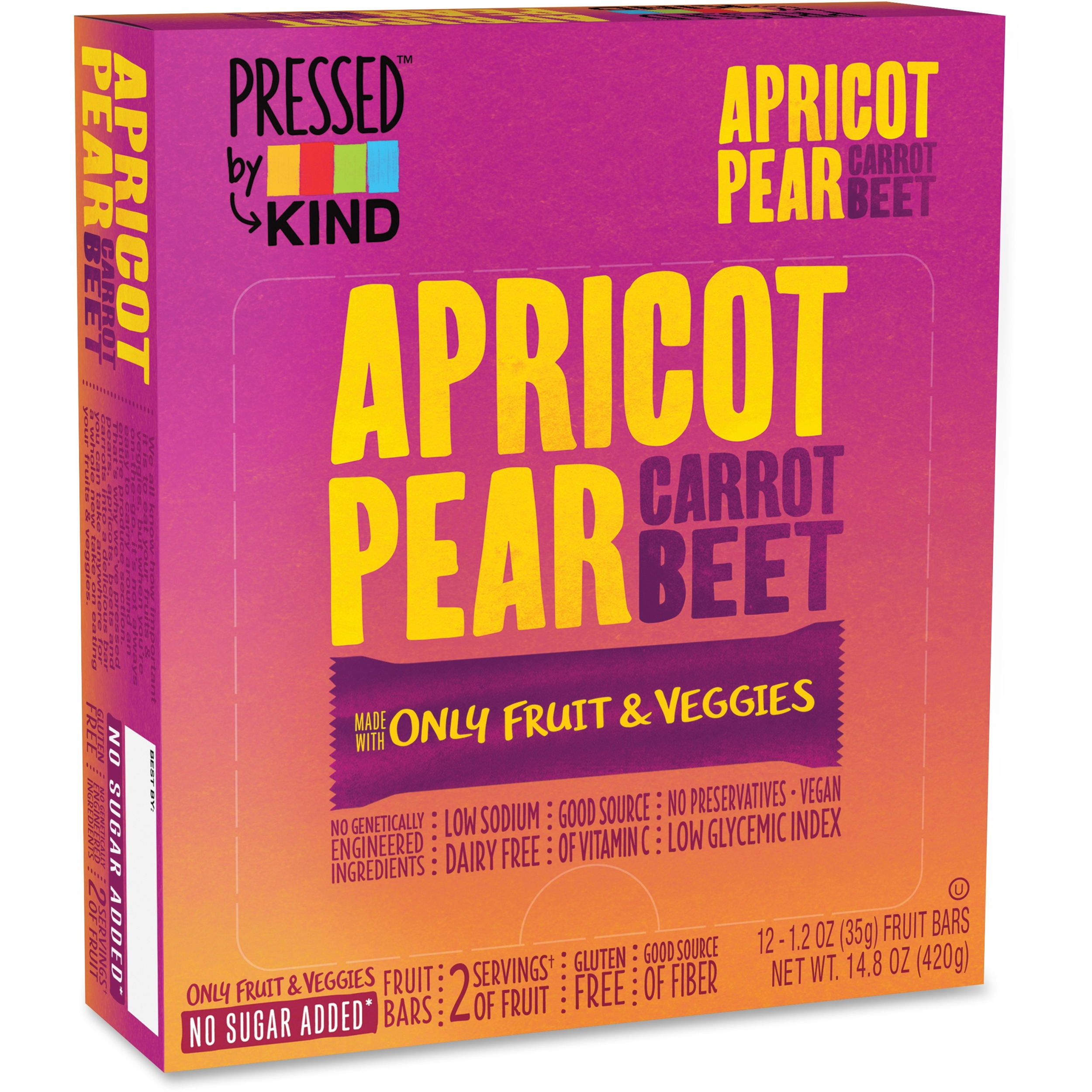 Kind Pressed Apricot Pear Carrot Beet Fruit Bars - Individually Wrapped, Non-gmo, Sodium-free, Gluten-free, Dairy-free - 1.20 Oz - 12 / Box (knd-24204)