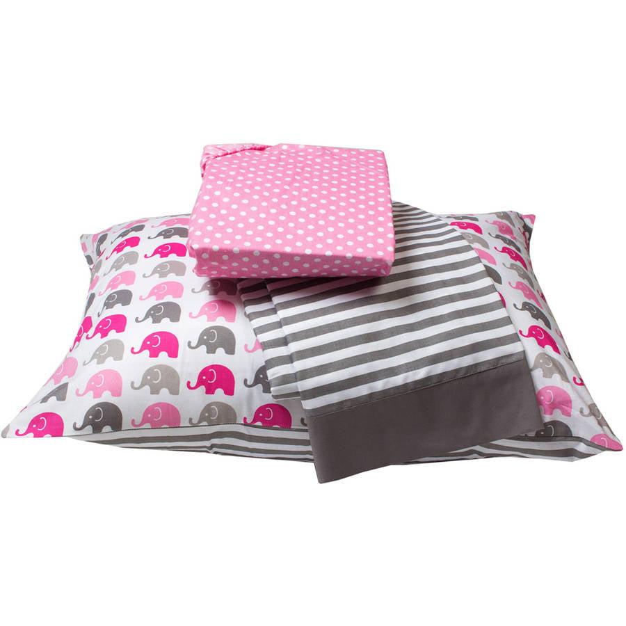 Bacati  -  Elephants 3 - Piece 100% Cotton Percale Toddler Sheet Set, Pink / gray