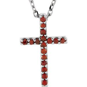 "14K White Mozambique Garnet Cross 16"" Necklace by"