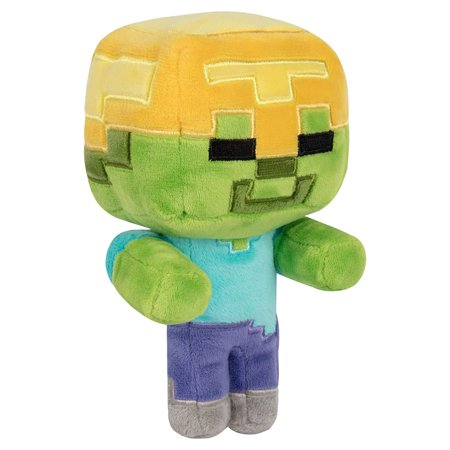 Minecraft Happy Explorer Series 7 Inch Collectible Plush Toy - Gold Helmet Zombie - Minecraft Green