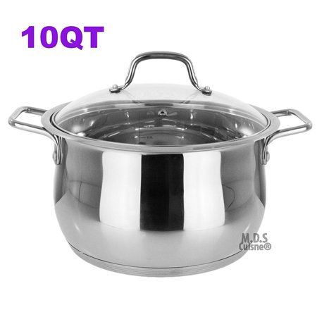 Stockpot 10 Qt Stainless Steel Commercial Tri-Ply Capsule Bottom Pot Dutch Oven