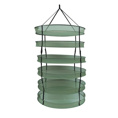 New Arrival Steel Rings Foldable Heavy Duty Hanging Dryer Rack Collapsible Mesh Hydroponic Drying Rack Net with Carrying Bag