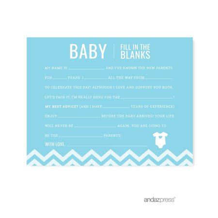 Fill-In-The-Blank Baby Blue Chevron Baby Shower Games, - Baby Blue Baby