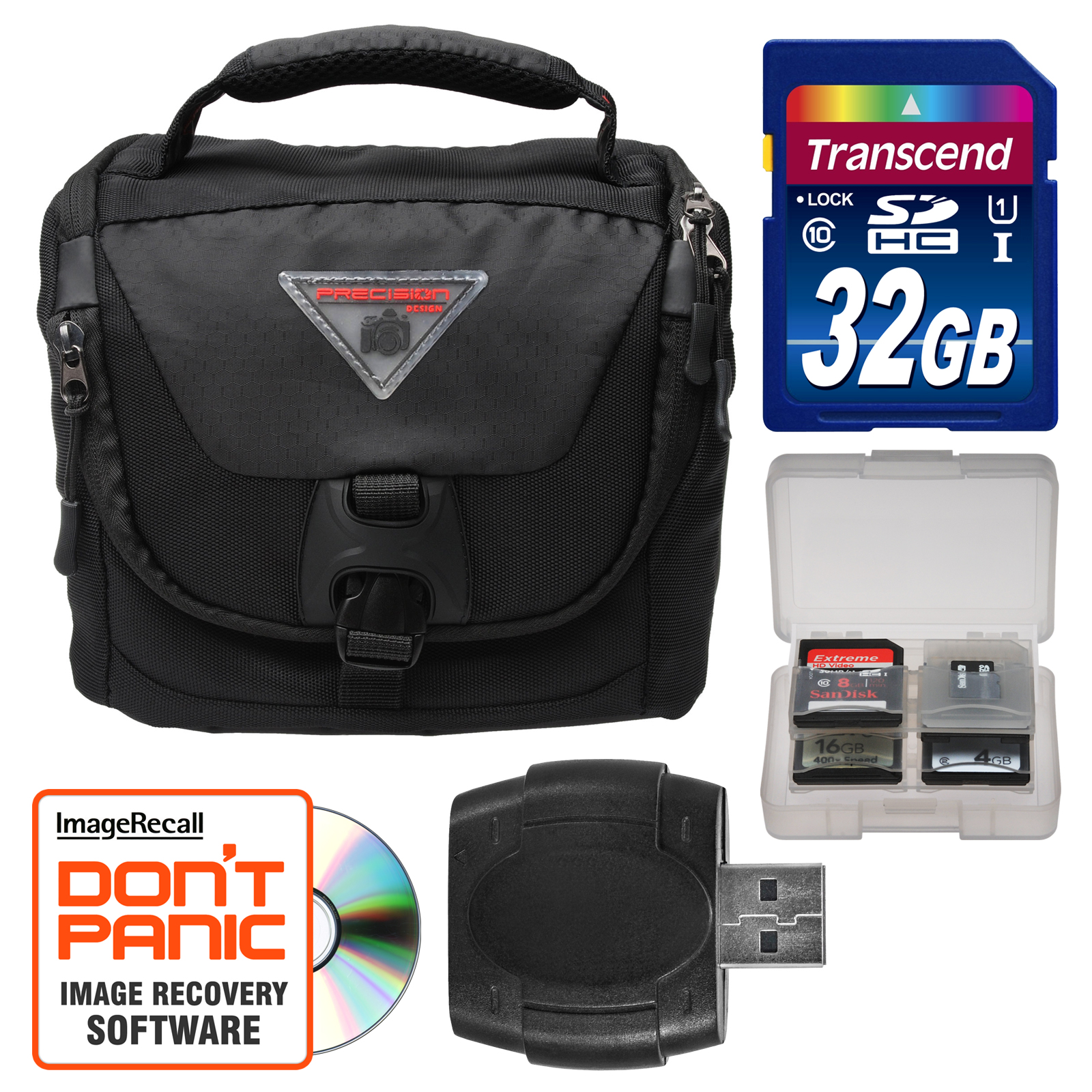 Precision Design PD-C25 Camera / Camcorder Case with Rain Cover & 32GB SD Card + Accessory Kit