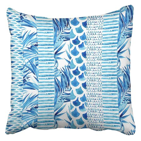 - ARHOME Watercolor Striped with Wave Stripe Squiggle Fish Scale Ornaments Tropical Palm Leaves Pillow Case Cushion Cover 16x16 inch