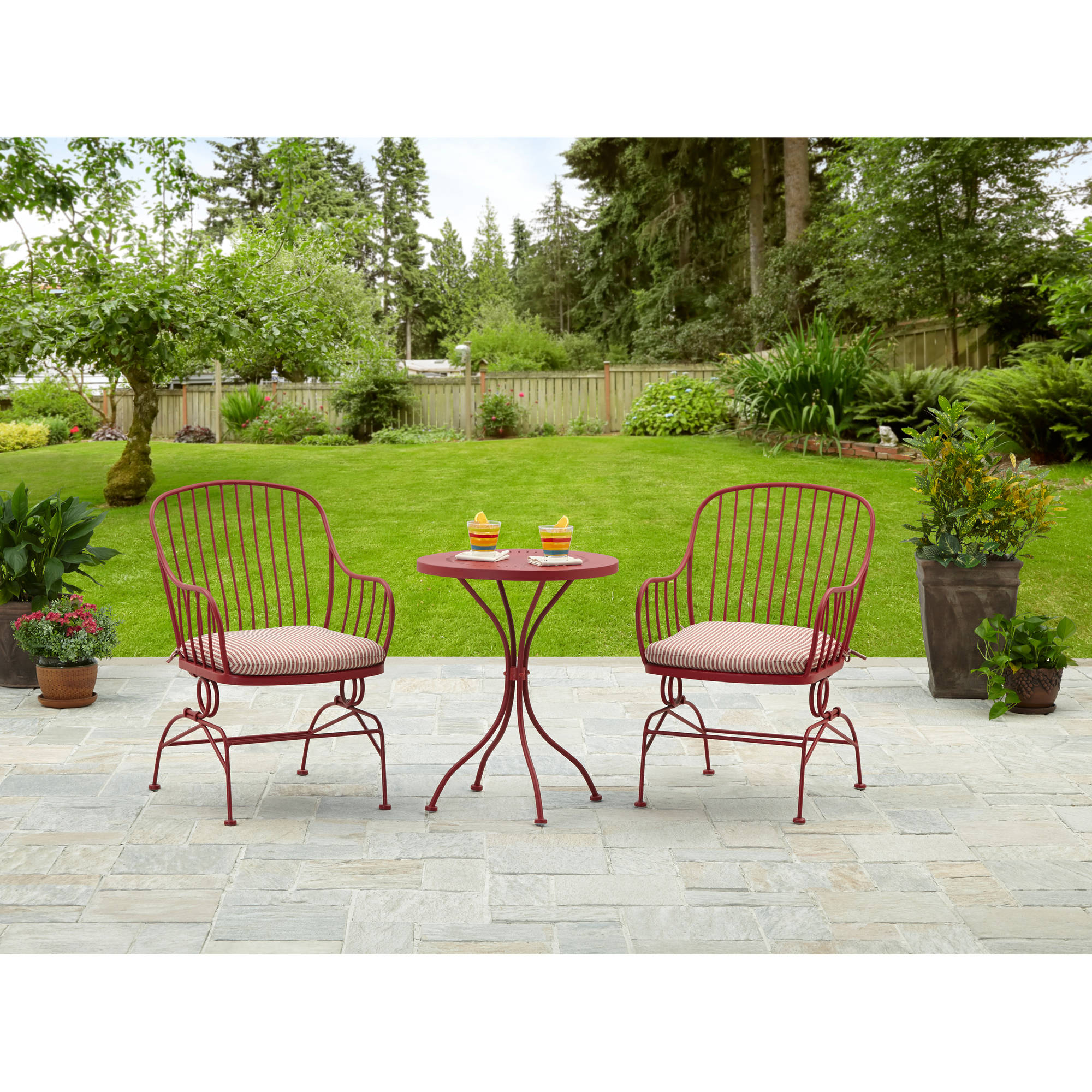 Mainstays 3 Piece Metal Outdoor Bistro Set Seats 2 Red Walmart  sc 1 st  THEDOGOOD.NET & Patio Table Set Images - Bar Height Dining Table Set