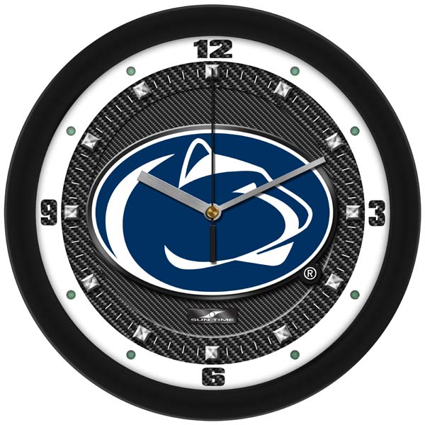 Penn State Carbon Fiber Textured Wall Clock