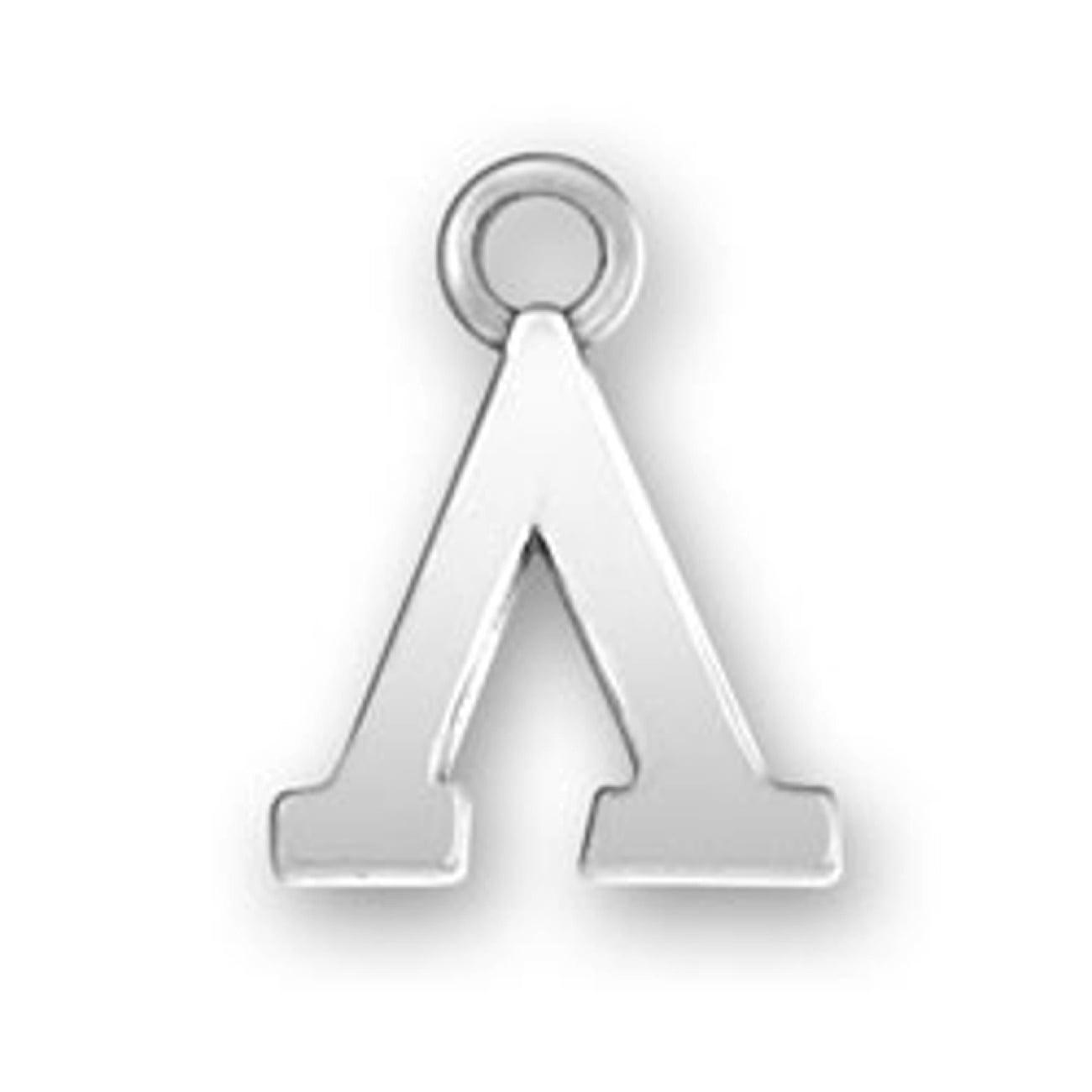 Sterling Silver Girls .8mm Box Chain Greek Alphabet Sorority Fraternity Theta Pendant Necklace